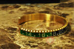 OYSTER JEWELRY CUFF Bracelet BLACK GREEN ON GOLD STEEL