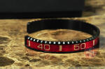 OYSTER JEWELRY CUFF Bracelet RED ON BLACK STEEL