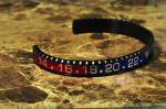 OYSTER JEWELRY CUFF Bracelet RED BLUE ON BLACK STEEL